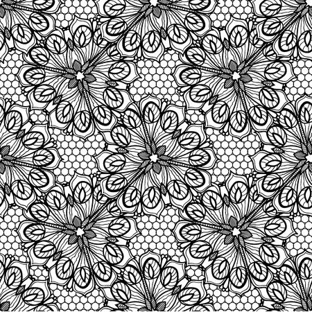 islamic pattern: Luxury black flowers lace border and background. Can be used as a wedding invitation card or menu cover. This image is an illustration.