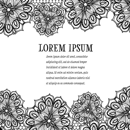 islamic pattern: Old lace frame, ornamental flowers