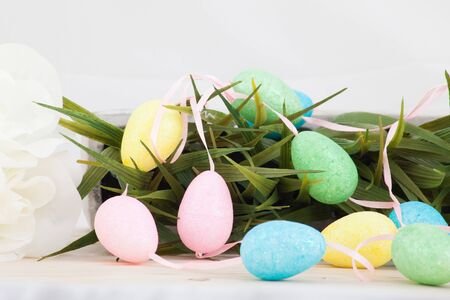 Colored easter eggs background