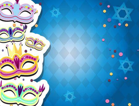 Carnival banner with flat sticker icons set. Vector illustration. Masquerade Concept. Ilustração