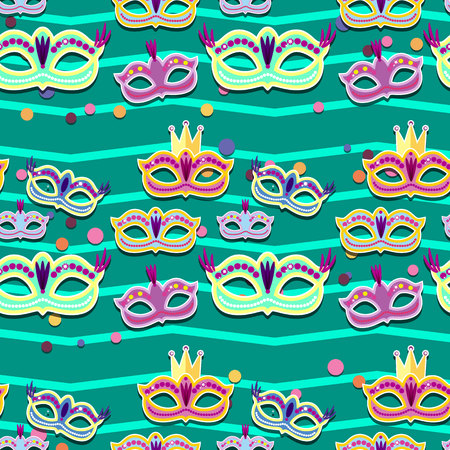Carnival banner with flat sticker icons set. Vector illustration. Masquerade Concept. Ilustrace