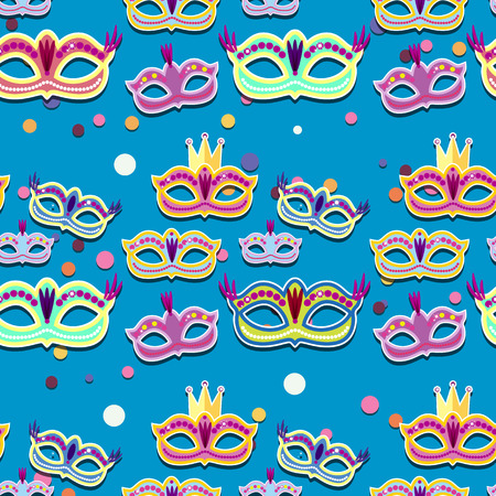 Carnival banner with flat sticker icons set. Vector illustration. Masquerade Concept. Illustration