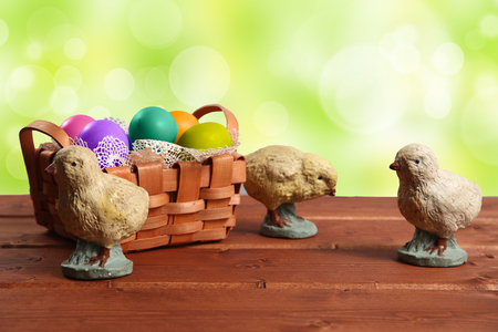 Easter Chickens on wood background