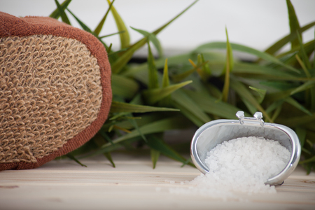 Natural bath salt, organic products on leaves background. Banque d'images