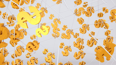 Golden dollar sign flying on the bright background.