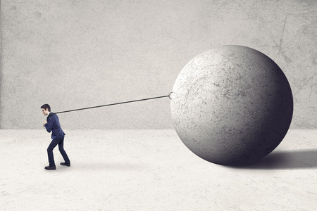 stressing: concept of stressing work  with huge boulder