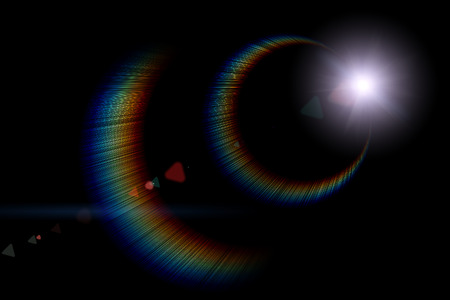 Vector star, sun with lens flare on dark background