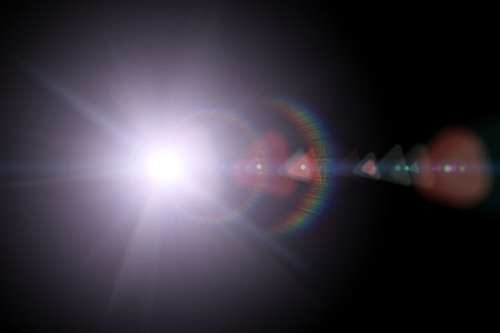 sun rays: Vector star, sun with lens flare on dark background