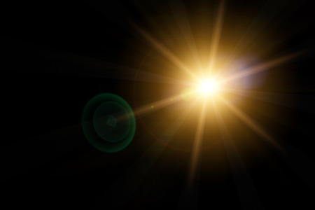 lens: Vector star, sun with lens flare on dark background