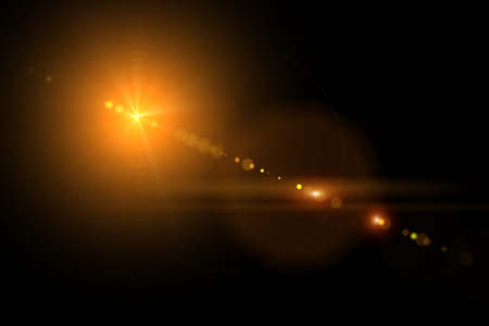 sun flare: Vector star, sun with lens flare on dark background