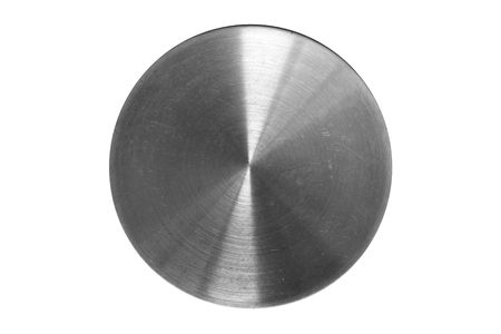 blank button: polished round piece of metal with scratches.