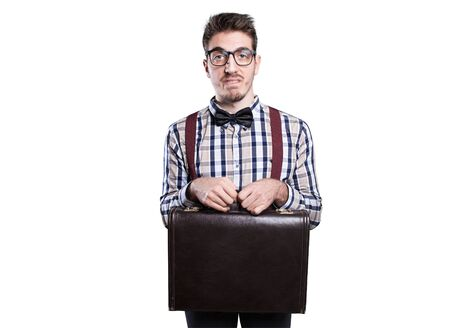 unattractive: Young shy nerd with case in hands . Stock Photo