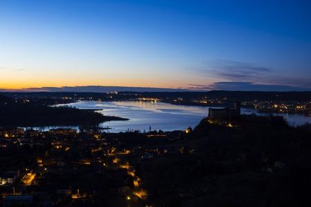 borromeo: beautiful sunshine on the major lake with castle of borromeo.