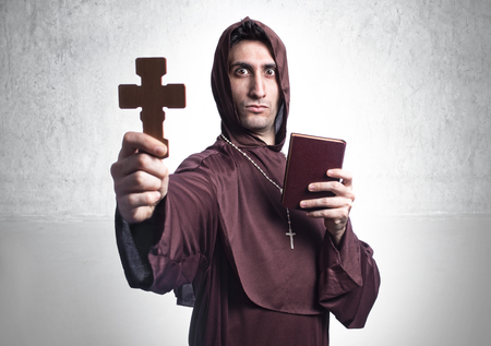 blessing: blessing friar on background and religious  habit Stock Photo