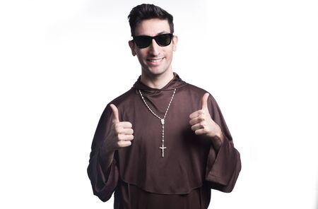 friar: friar with sunglasses on grunge background with filters