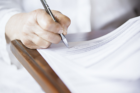 soft focus pen writing Stock Photo
