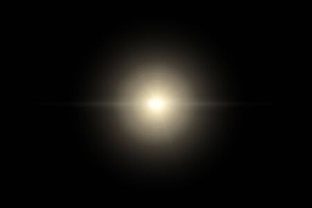 star, sun with lens flare on dark background