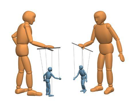 humility: 3D marionette - le persone di colore marrone, la gestione bambole - marionette di colore blu scuro