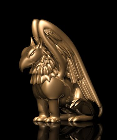 3d lion: 3d statue griffin from gold, on a black background