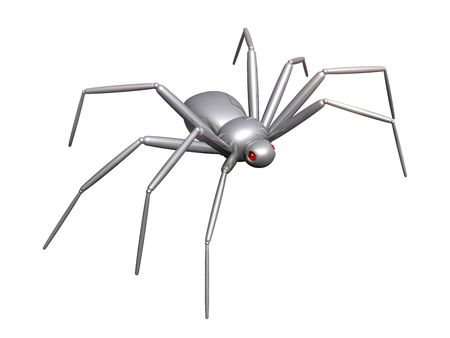 chromeplated: 3d spider of their chromeplated metal, with eyes from a red glass Stock Photo