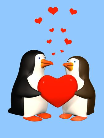 antarctica: Two In love 3D penguins Stock Photo