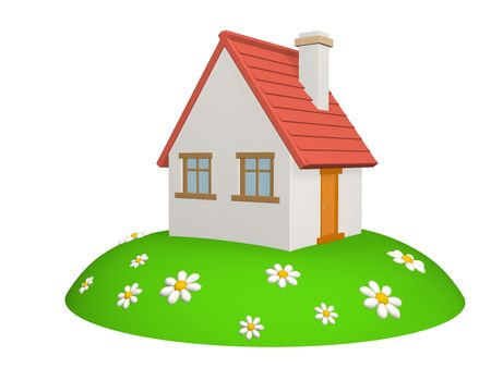 3d house on a green hill, with camomiles. Objects over white Stock Photo - 2422398
