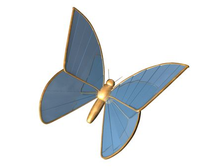 chromeplated: The gold 3d butterfly from blue chromeplated metal, with a fringing from gold on wings Stock Photo