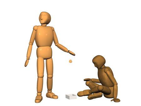 desprecio: 3d persona - t�tere, tirando el dinero de oro de t�teres - pobres