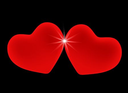 leant: Two red hearts, leant to each other