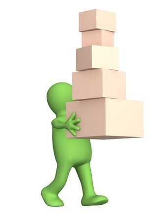 The 3d person a puppet, carrying boxes. Objects over white Stock Photo - 2567379