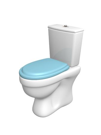 Toilet bowl, with the closed seat of blue color. Objects over white photo