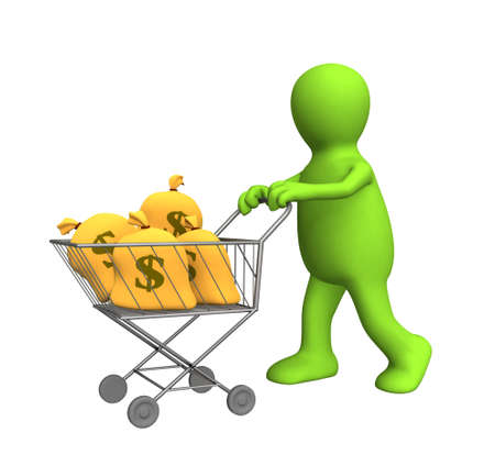 3d puppet: 3d puppet, carrying bags with dollars in the carriage. Objects over white Stock Photo
