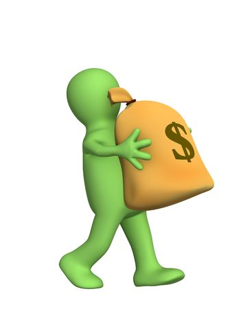 lucky bag: 3d puppet, carrying in hands the big bag of money. Objects over white