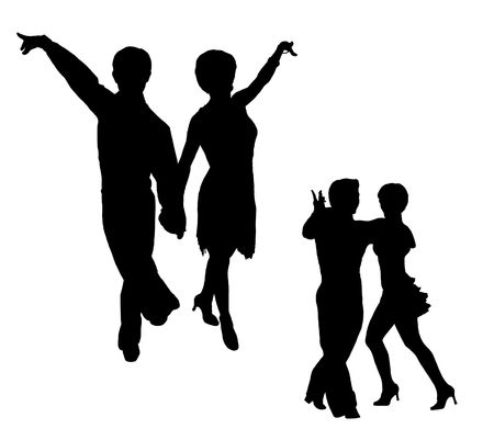 jive: Black silhouettes of the man and the woman, dancing jive