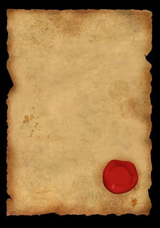 red wax seal: Dirty sheet of parchment with a sealing wax seal Stock Photo