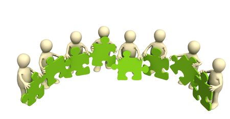 Eight puppets, holding in hands a puzzle of green color. Objects over white photo