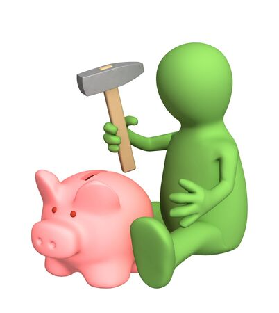 gift spending: 3d person, breaking a coin box by a hammer. Objects over white