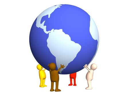 Four stylized persons holding on hands the Earth. Object over white photo