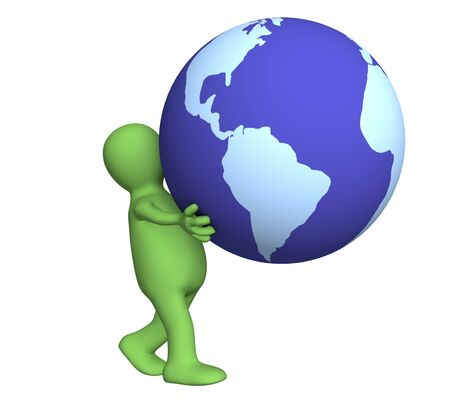 busines: The green 3d person carrying in hands globe Stock Photo