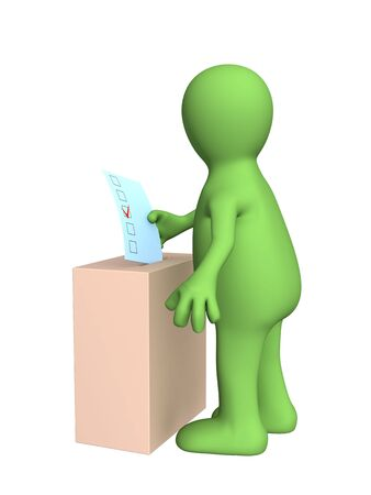 balloting: The 3d stylized person voting at elections