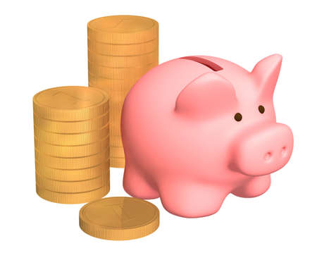 dividend: Columns of gold coins, near to a pig a coin box. Objects over white