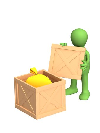 addressee: The green 3d person - puppet, opening a sending Stock Photo