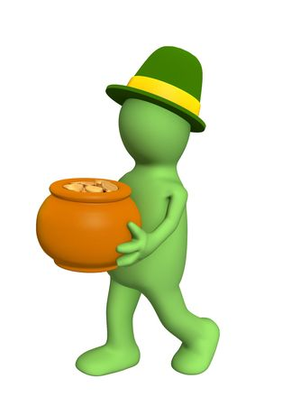 3d puppet - leprechaun, carrying pot with gold coins. Objects over white Stock Photo - 2669603