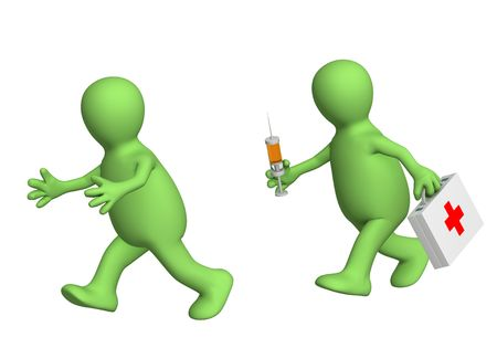 escaping: 3d person - puppet, escaping from the doctor with a syringe. Objects over white Stock Photo