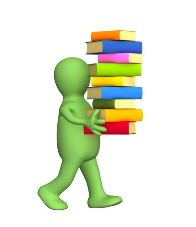 3d person - puppet, carrying a pile of books. Objects over white Stock Photo