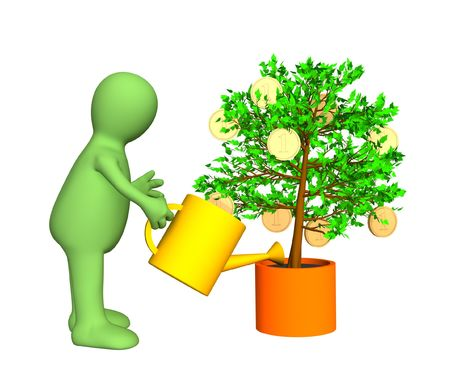 commissions: 3d gardener, watering a tree with growing gold coins. Objects over white