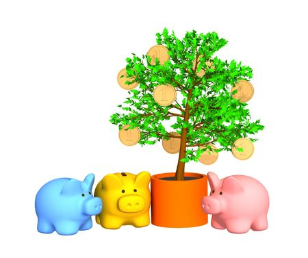 commissions: Three pigs of a coin box, worth around of a gold-bearing tree. Objects over white