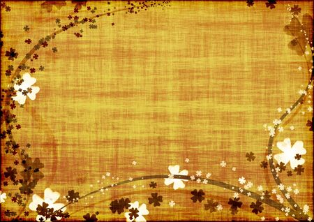 Grunge background with brown lines and leaves clovers Stock Photo - 2669609