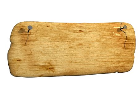 3d old bursted board, attached by nails. Objects over white Stock Photo - 2676042