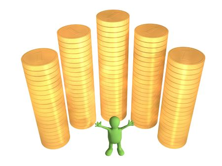 salaries: Joyful 3d puppet, worth near to columns of gold coins. Objects over white